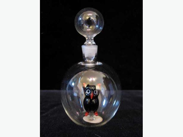 Delightful Figurative Austrian art glass Scent / Perfume bottle with paper label