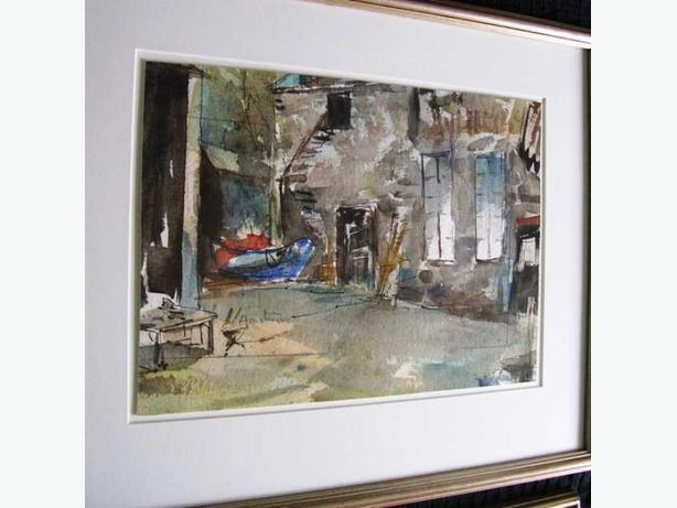 Watercolour of Blue Boat in Alley - David C. Armstrong
