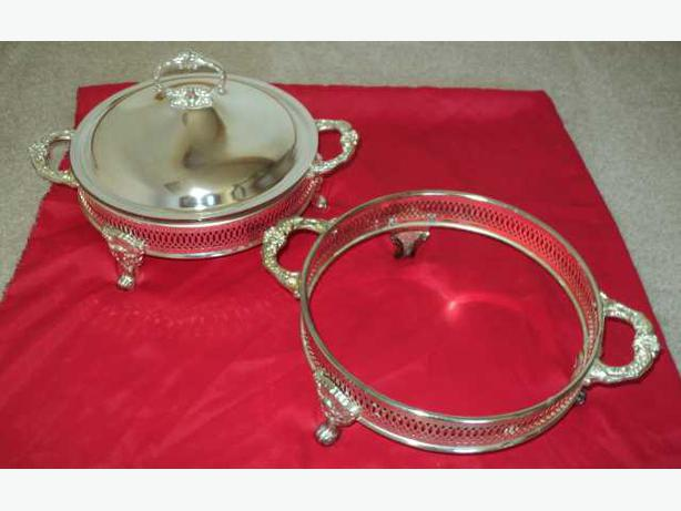 "Covered Silver Plated 9"" Serving Dish plus Extras"