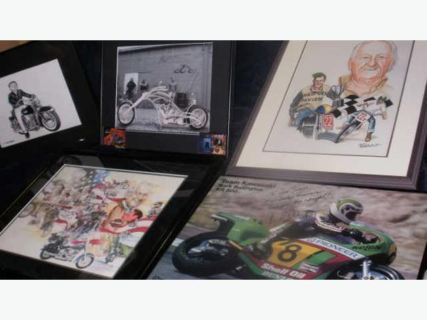 7 Harley Davidson,Kork Ballington,Paul Sr.Jr,Mikey Signed Photos,Paintings