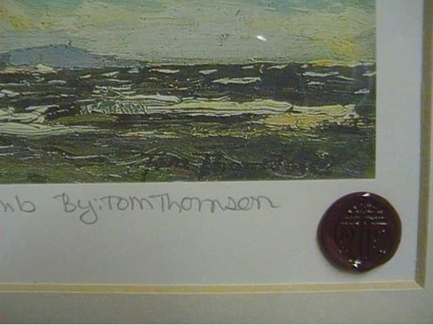 Tom Thomson signed sealed framed Ltd Giants Tomb Island
