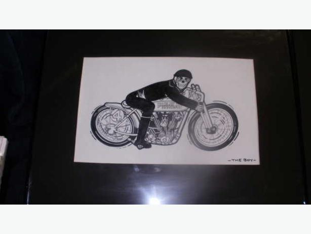 "SET OF 4 MOTORCYCLE HARLEY DAVIDSON SIGNED ""THE BOY"" MOTORCYCLE COMIC ART"
