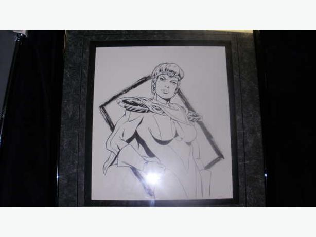 Original Comic Art Un-Signed Superhero Wonder Woman?? Framed