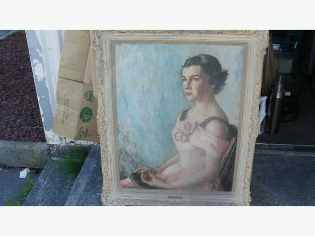 Rare Large Oil Artist Self-Portrait Vivian Walker Signed Framed C1950s