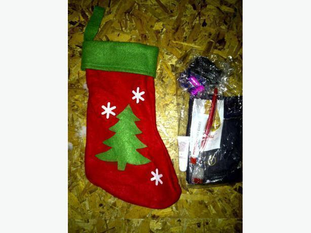 Christmas stocking with toiletry kit inside (in a sealed plastic bag)