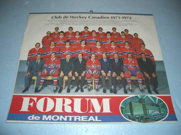 1971 Montreal Canadian's Team Photo from team Calender