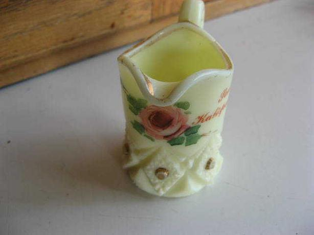 VINTAGE CUSTARD GLASS TOOTHPICK HOLDER