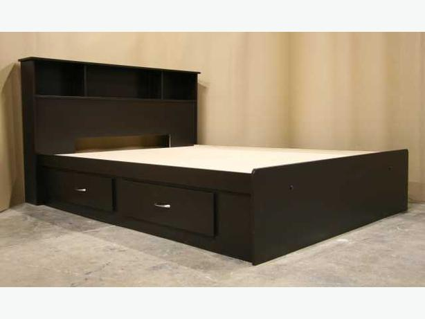 New Espresso Brown Queen Size Captains Bed Frame with Headboard