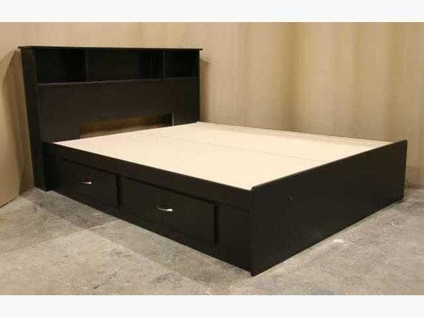 New Espresso Brown Full Size Double Captains Bed Frame+Headboard