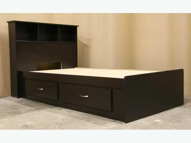 New Espresso Brown Twin Single Captains Bed Frame + Headboard
