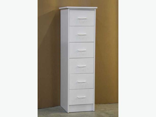 White 6 Drawer Skinny Dresser Chest **Brand New**