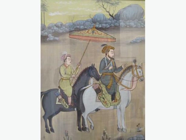 Nice quality Middle East folk art Gouache painting - Tribal Elder and servant