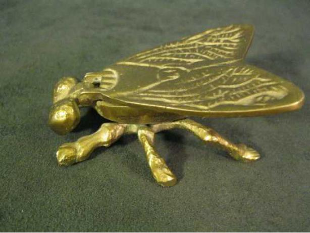 RARE SMALL ANTIQUE BRASS FLY TRINKET BOX