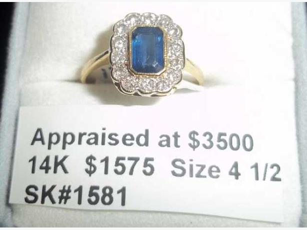 18K Yellow and White Gold Ladies Diamond and Sapphire Ring (#1581)