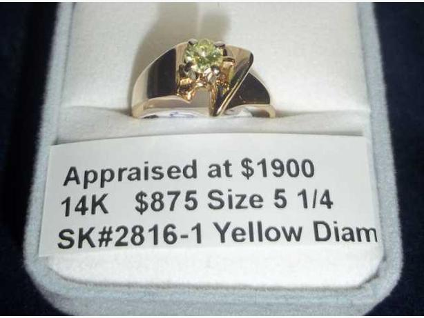14K Yellow and White Gold Yellow Diamond Solitaire Ring (#2816-1)
