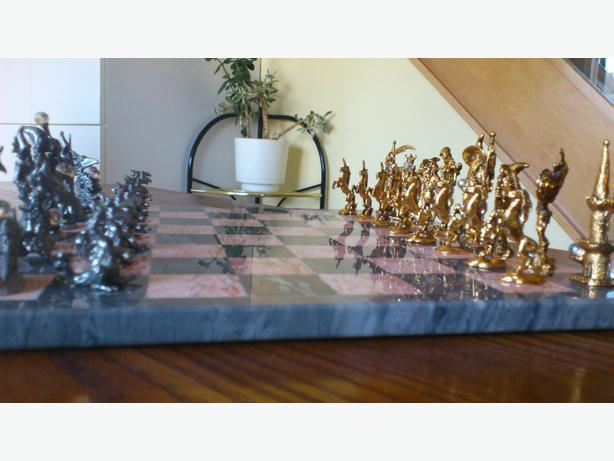 ONE-OF-A-KIND Gold and Pewter Fantasy Chess Set
