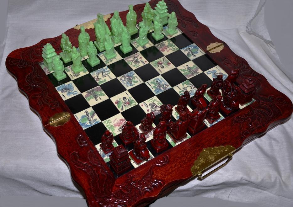 Antique Asian Chinese Chess Board Set Hand Carved Wood