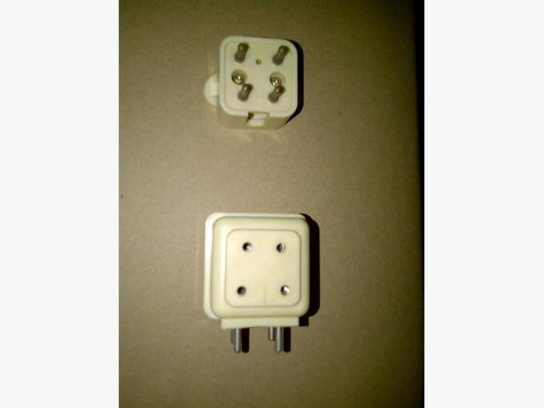 Old style 4 pin phone plug and old style 4 pin dual phone outlet