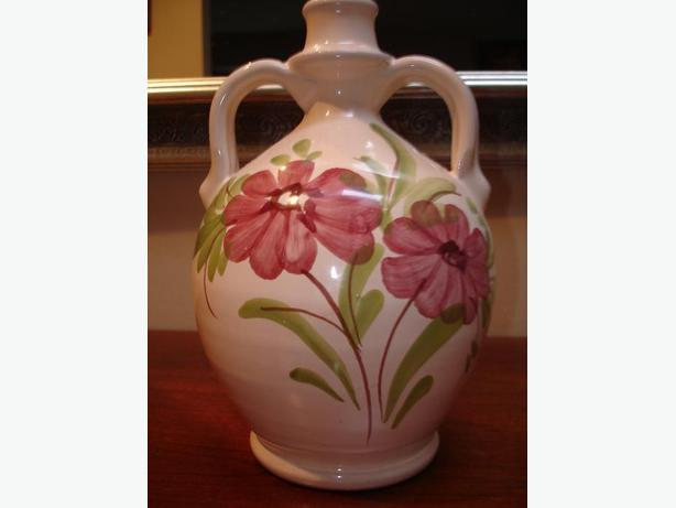Beautiful Hand Crafted & Painted Decorative Pottery Wine Decanter from Italy