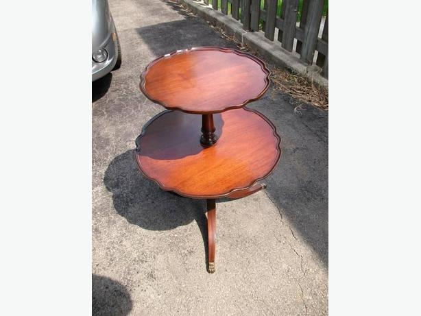 2 tier mahogany table
