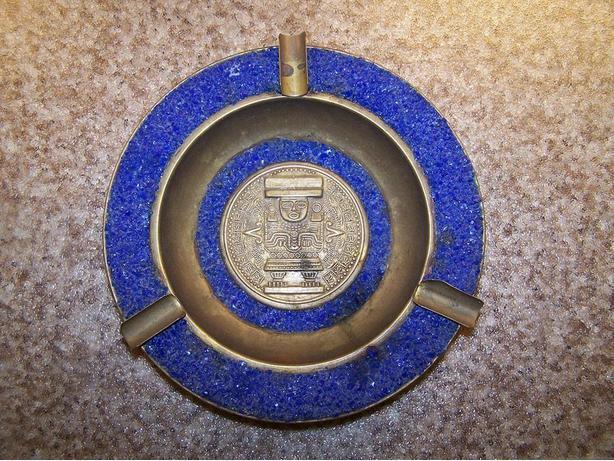 Vintage Brass Maya Design Mexico Ashtray w/ blue stone trim