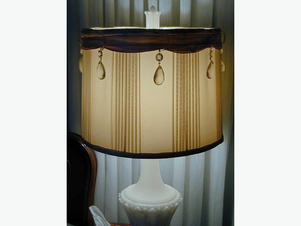 SILK & AUSTRIAN CRYSTAL 1940 VINTAGE LAMP SHADES