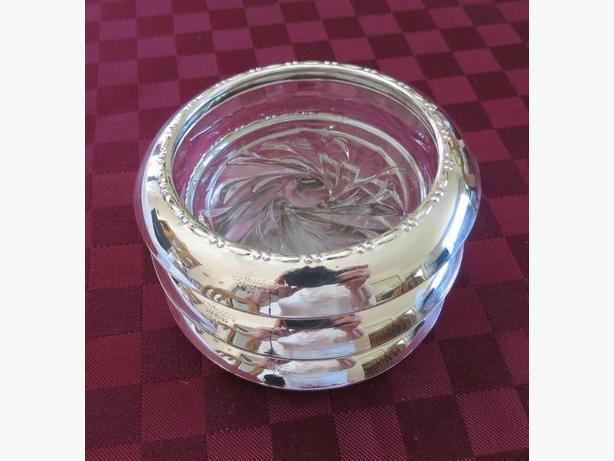 Vintage Set of 3 Amston Sterling Silver-Rimmed Crystal Coasters