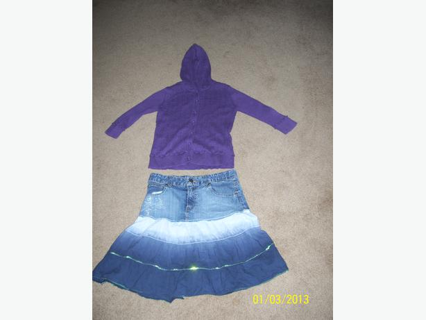Girl's denim flared skirt and hooded sweater size 14