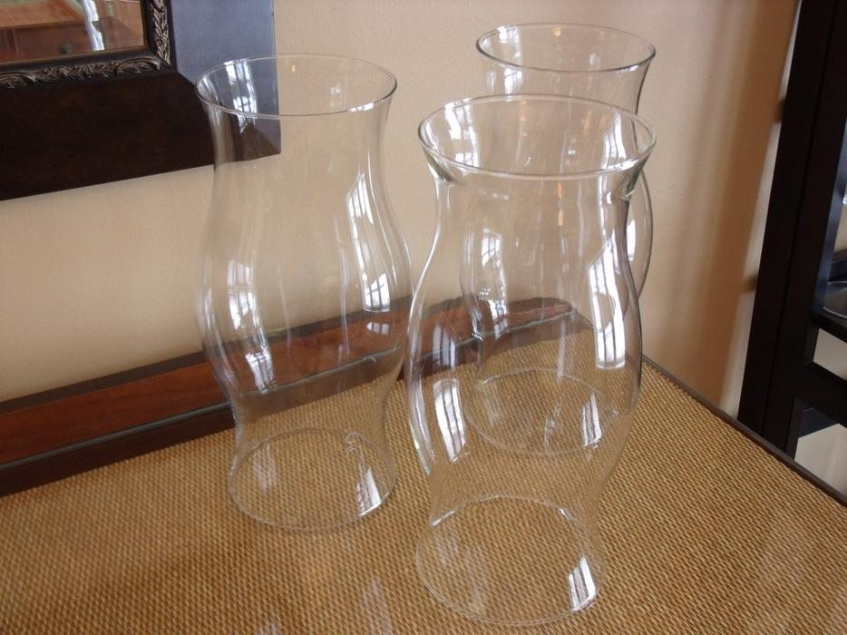 Set Of 3 Extra Large Glass Hurricane Candle Covers Wedding