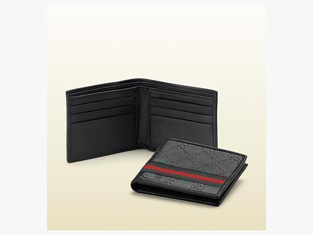 New in Box Gucci Web Bi-fold Leather Wallet for men