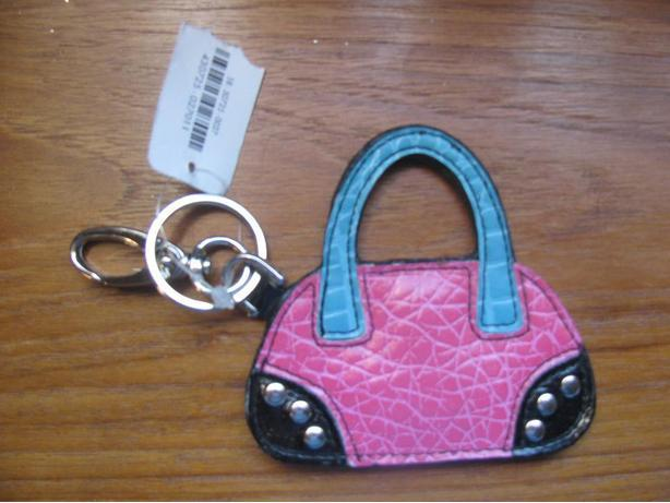 Hot pink, turquoise and black purse key chain - new
