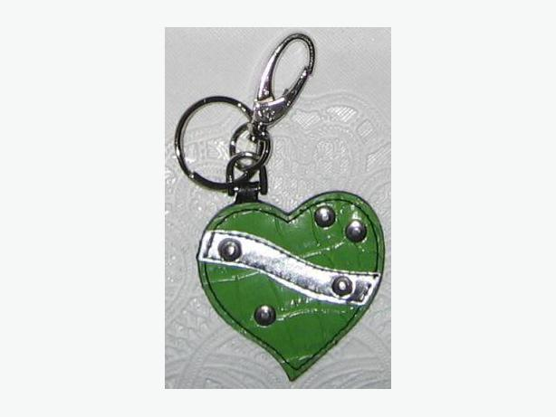 Lime green with silver rivets heart shpaed key chain