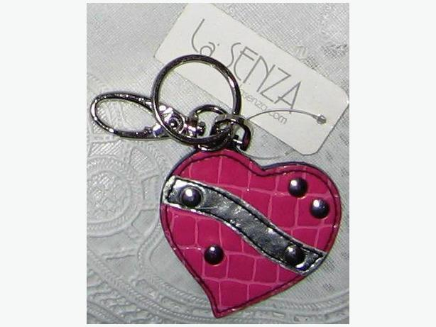Hot pink with silver rivets heart-shaped key chain
