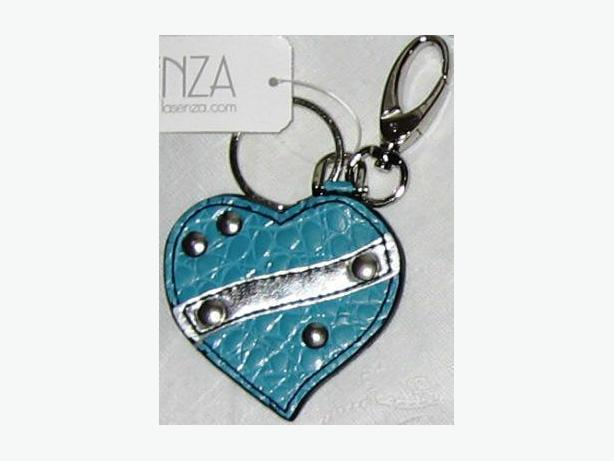 Turquoise with silver trim and rivets heart-shaped key chain - new