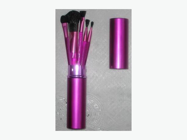 Hot pink tubular 5case with make-up brushes new