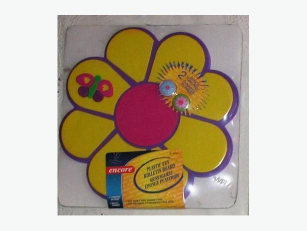 Purple and yellow flower-shaped bulletin board with push pins - new