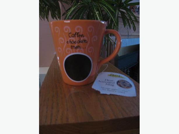 Coffee, chocolate brown and orange ceramic mug - new