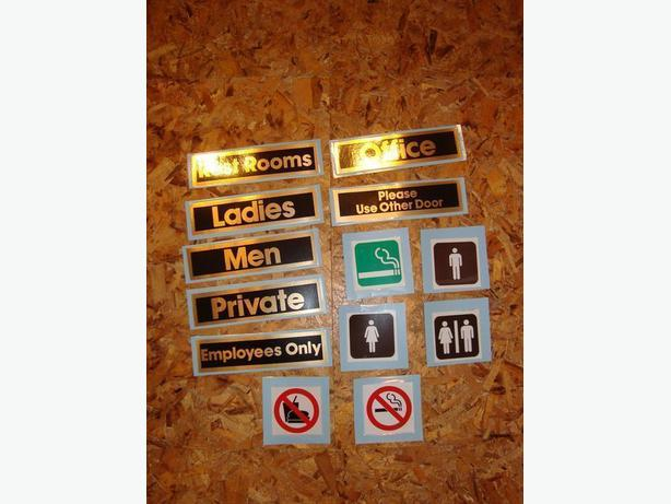 Set of 13 plasticized signs for business