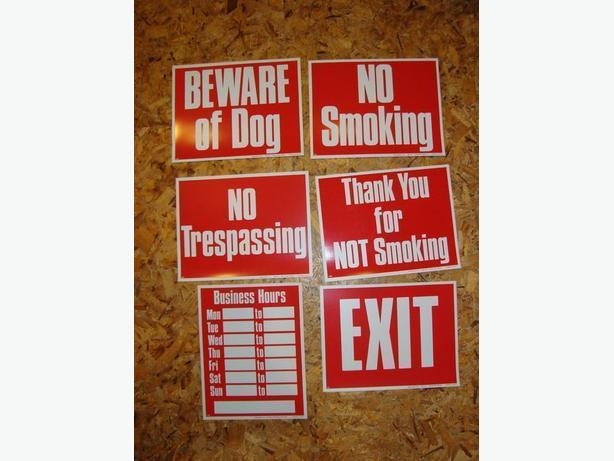 Set of 6 plastic signs for business
