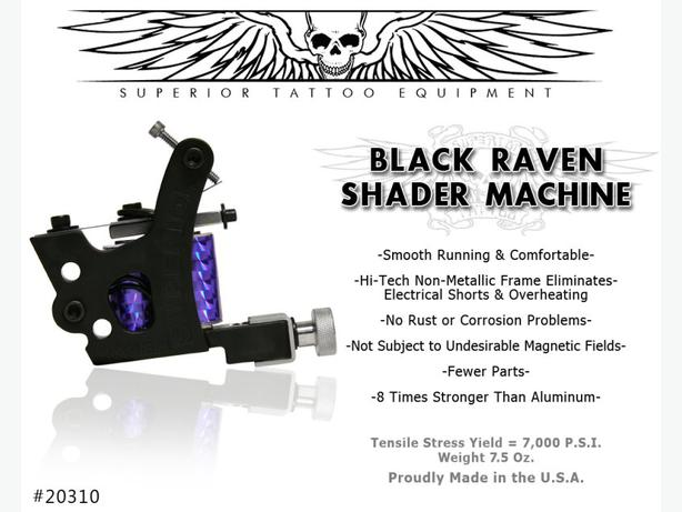 New black raven tattoo shader machine victoria city for Superior tattoo machine
