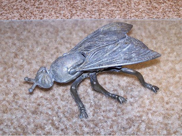 Antique extra large metal fly trinket / ashtray Made in Italy