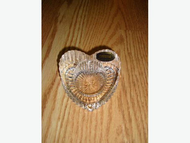New Lead Crystal Heart Candle Holder - $5