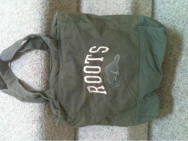 Roots Canvas Tote Bag Handbag Purse - Green