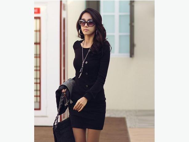 Stylish Scoop Neck Long Sleeve Single-Breasted Solid Color Dress
