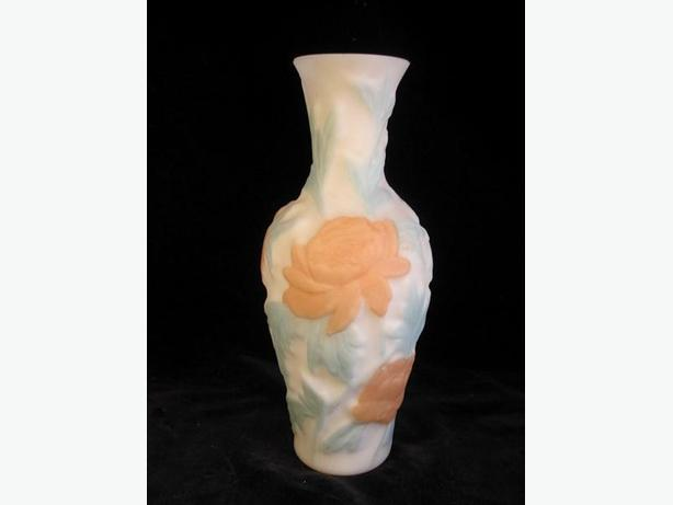 Vintage Art Nouveau Phoenix / Consolidated art glass floral molded vase.