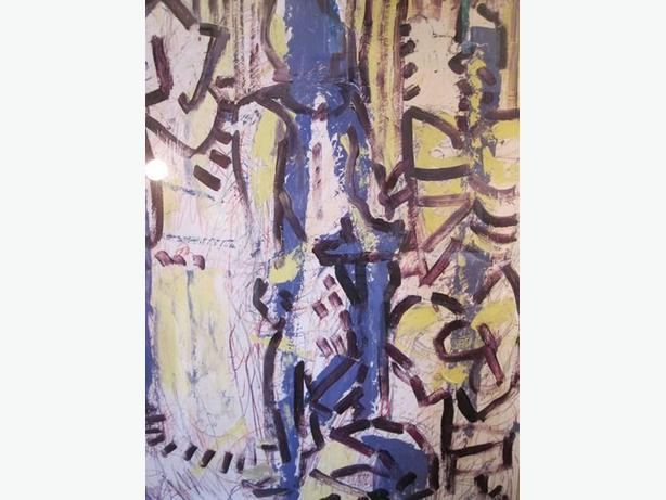 "contemporary abstract oil on paper signed on verso and titled ""Nat Feb. 29""."
