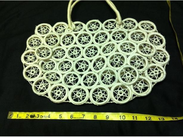 Macrame Purse Patterns Free : White Macrame Star Pattern Purse / Bag - small Esquimalt & View Royal ...