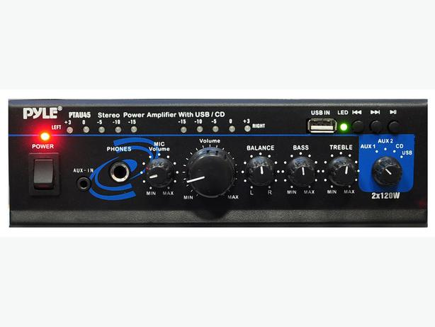 Pyle Stereo Power Amplifier - 2 x 120 Watt with USB, AUX, CD & Mic Inputs
