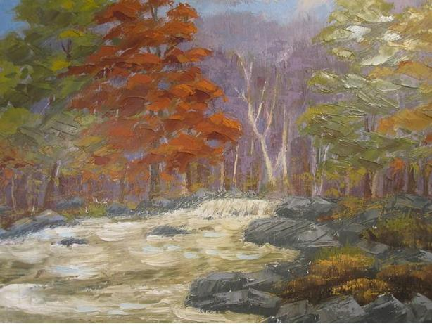 Unframed oil painting on board, - Autumn River landscape. - Unsigned.