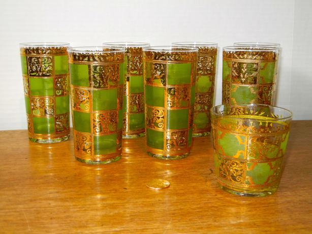 Vintage Retro 22kt Gold Culver Glass Set